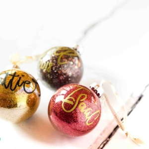 Personalised Ceramic Baubles by The British Quill Calligraphy and Lettering
